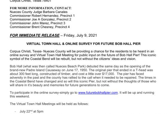 Virtual Town Hall & Online Survey for Future Bob Hall Pier